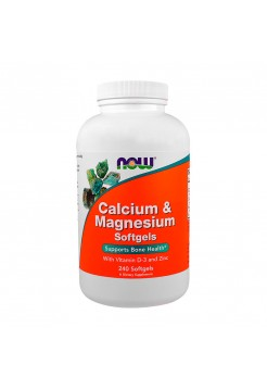 Витамины NOW Calcium&Magnesium (with vitamin D and Zinc) 240 гелевых капсул